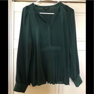 J. Crew medium tall dark green 100% silk blouse